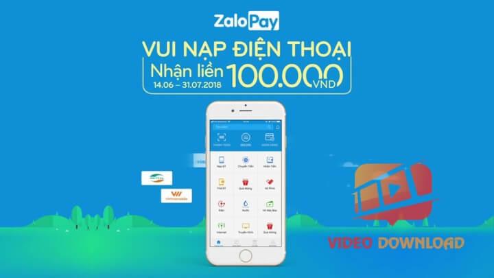 Hình 2: Nạp tiền điện thoại nhận 100k với ZaloPay