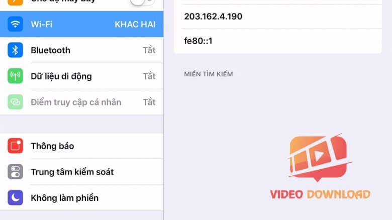 Hình 3: Thay đổi DNS trên iPhone