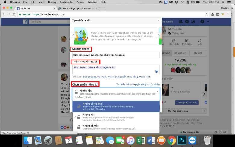 Hình 5: Tạo nhóm bí mật Facebook