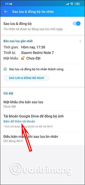 Sao lưu lên Google Drive
