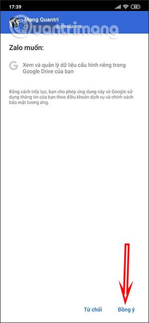Đồng ý truy cập Google Drive