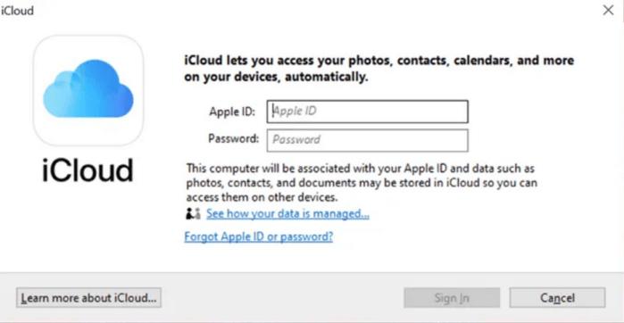 trang web iCloud cho Windows để tải về và cài đặt ứng dụng