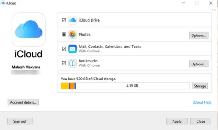 bật và tắt các dịch vụ iCloud trên Windows