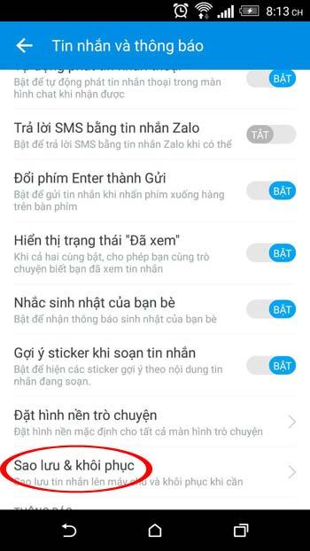 Mục tin nhắn và thông báo trên Zalo