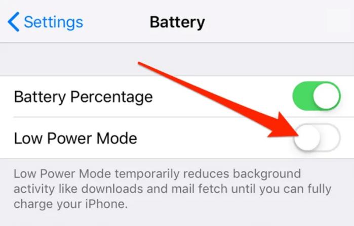 tắt chế độ nguồn điện thấp của iphone